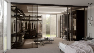 Inloopkast slaapkamer glas