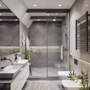 Grijs betegelde badkamer met inloopdouche